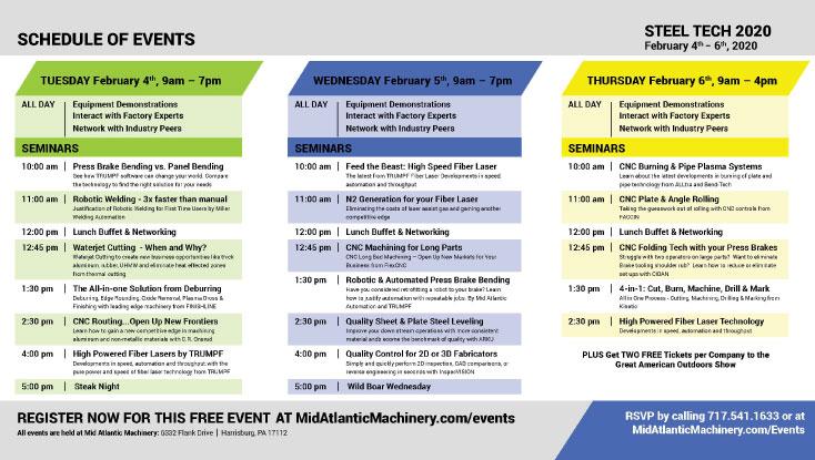 Steel Tech 2020 Seminar Schedule